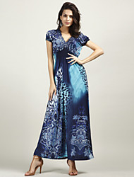 cheap -Women's Beach Boho Silk Swing Dress - Leopard Blue, Flower Ruched Print Maxi Deep V