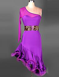 cheap -Latin Dance Outfits Women's Training Performance Spandex Chinlon Ruched Long Sleeves Dress Waist Belt