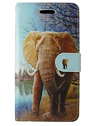 cheap -Case For iPhone 5 Case Card Holder Wallet with Stand Flip Full Body Cases Elephant Hard PU Leather for iPhone SE/5s