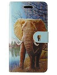 billiga -fodral Till iPhone 5-fodral Plånbok / Korthållare / med stativ Fodral Elefant Hårt PU läder för iPhone SE / 5s