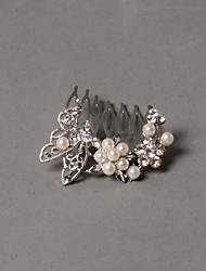 Imitation Pearl Rhinestone Alloy Hair Combs Headpiece