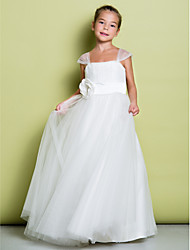 cheap -A-Line Floor Length Flower Girl Dress - Tulle Sleeveless Straps with Draping Flower by LAN TING BRIDE®