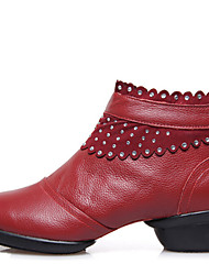 Modern Women's Dance Shoes Boots First Layer Leather Breathable Cotton-padded Low Heel Black/Red