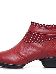 Для женщин Танцевальные кроссовки Кожа Ботинки С раздельной подошвой Для открытой площадки Молния На низком каблуке Черный Красный 3,5 см