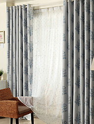 Rod Pocket Grommet Top Double Pleat Two Panels Curtain Country Modern Neoclassical Mediterranean , Jacquard Bedroom Polyester Material