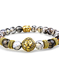 cheap -Women Men Fashion Bracelet Pulseras Mujer Black Lava Stone Buddha Lion Beads Bracelet