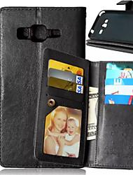 رخيصةأون -غطاء من أجل Samsung Galaxy حالة سامسونج غالاكسي محفظة / حامل البطاقات / مع حامل غطاء كامل للجسم لون سادة جلد PU إلى J5 / J1 / Grand Prime