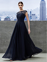 cheap -A-Line Illusion Neckline Floor Length Georgette Formal Evening Black Tie Gala Dress with Draping Lace by TS Couture®