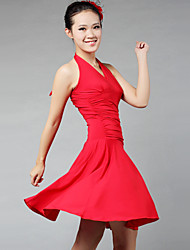 Latin Dance Dresses&Skirts Women's Performance Training Milk Fiber Draped 1 Piece Sleeveless Dress