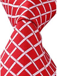 Grid Pattern Red Jacquard Men Business Suit Necktie Tie