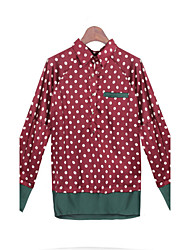 cheap -Women's Polka Dot Red Tops & Blouses , Casual Stand Long Sleeve