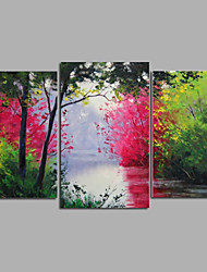 Ready to Hang Stretched Hand-Painted Oil Painting Canvas Wall Art Landscape Forest Summer Trees Road Three Panels