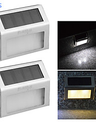 cheap -YouOKLight® 2PCS 0.2W 2-LED Warm White/ White Light Control Solar Wall Lamp - Silver