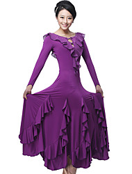 cheap -Ballroom Dance Dresses&Skirts Women's Training / Performance Milk Fiber Draping / Ruffles / Crystals / Rhinestones Long Sleeve Dress / Modern Dance
