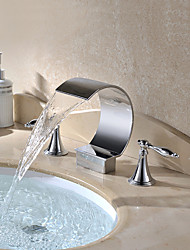 cheap -Chrome Finish Deck Mounted 3 Pieces Waterfall Basin Water Tap