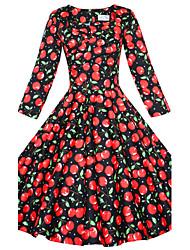 Dame Vintage I-byen-tøj Plusstørrelser Løstsiddende Skede Skater Kjole Ensfarvet,Firkantet hals Knælang 3/4 ærmelængde Sort BomuldAlle