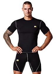 Per uomo T-shirt e pantaloncini da corsa Manica corta Indossabile Morbido Materiali leggeri Traspirante Compressione Set di vestiti Top