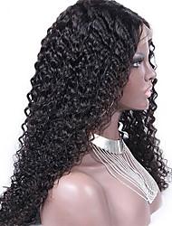 billige -Menneskehår Halvblonder uden lim / Blonde Front Paryk Kinky Curly Paryk 130% Natural Hairline / Afro-amerikansk paryk / 100 % håndbundet Dame Kort / Medium / Lang Blondeparykker af menneskehår