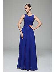 Vestido de dama de honra em chiffon de um comprimento de calcinha com uma linha de colher com trapo lateral drapejado por xfls