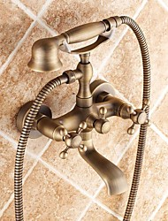 Traditional Tub And Shower Handshower Included Ceramic Valve Two Holes Two Handles Two Holes Antique Brass , Bathtub Faucet