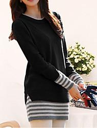 Longue Pullover Femme Décontracté / Quotidien simple Sophistiqué,Rayé Col Arrondi Manches Longues Coton Automne Moyen Micro-élastique