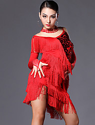 cheap -Latin Dance Outfits Women's Performance Spandex Sequin Crystals / Rhinestones Tassel Dress Gloves Neckwear