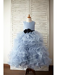 Ball Gown Floor Length Flower Girl Dress - Organza Satin Sleeveless Jewel Neck by thstylee