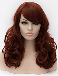 cheap -Synthetic Wig Curly Asymmetrical Haircut Synthetic Hair Natural Hairline Red / Brown Wig Women's Long Capless