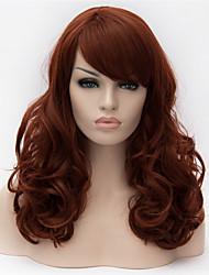 abordables -Perruque Synthétique Bouclé Coupe Asymétrique Cheveux Synthétiques Ligne de Cheveux Naturelle Rouge / Marron Perruque Femme Long Sans bonnet