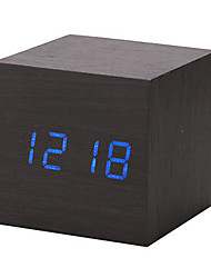 cheap -New Modern Wooden Wood Digital LED Desk Alarm Clock Thermometer Timer Calendar