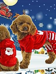 economico -Gatto Cane Felpe con cappuccio Tuta Abbigliamento per cani Natale Capodanno Fiocco di neve # 1 # 2 Costume Per animali domestici