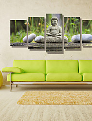 cheap -Landscape People Photographic Modern, Five Panels Horizontal Print Wall Decor Home Decoration
