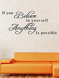 cheap -Wall Stickers Wall Decals Style If You Believe English Words & Quotes PVC Wall Stickers