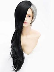 cheap -Fashion Color Cartoon Wig Male Black Ash Mixed Color Long Wig