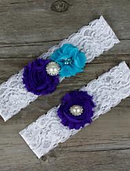 2pcs/set Purple And Blue Satin Lace Chiffon Beading Wedding Garter