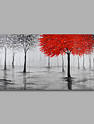 cheap -Hand-Painted Oil Painting on Canvas Wall Art Abstract Contempory Trees Forest Grey One Panel Ready to Hang