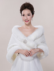 cheap -Sleeveless Faux Fur Wedding Party Evening Casual Fur Wraps Wedding  Wraps Shawls