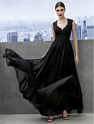 cheap -A-Line Sweetheart Floor Length Chiffon Formal Evening Black Tie Gala Dress with Lace Criss Cross by TS Couture®