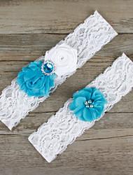 2pcs/set Blue And White Satin Lace Chiffon Beading Wedding Garter