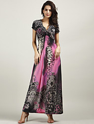 cheap -Women's Beach Boho Silk Swing Dress - Leopard Flower Ruched Print High Rise Maxi Deep V