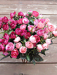 cheap -21 Head of European Herb Rose in Silk Cloth Artificial Flower for Home Decoration(10Piece)