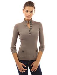 preiswerte -Damen Klassisch & Zeitlos Langarm Pullover - Solide V-Ausschnitt
