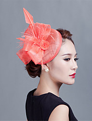 Coral Lady Vintage Sinamay Feather Fascinators Hats