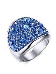 baratos -Mulheres Anel de declaração - Aço Titânio Fashion 6 / 7 / 8 Amarelo / Azul / Rosa claro Para Casamento / Festa / Diário / Strass