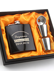 Bride / Groom / Bridesmaid / Groomsman Gifts Piece/Set Hip Flasks Modern Congratulations Stainless Steel Personalized Hip Flasks Black