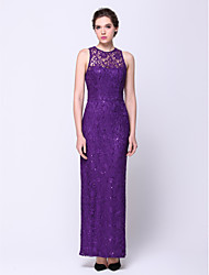 cheap -Sheath / Column Jewel Neck Ankle Length Lace Prom Formal Evening Dress with Lace by TS Couture®