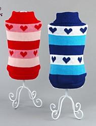 preiswerte -Katze Hund Pullover Hundekleidung Lässig/Alltäglich Herzen Rot Blau Kostüm Für Haustiere