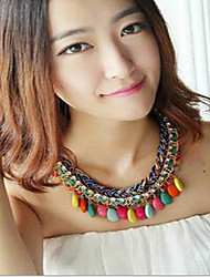 Women's Pendant Necklaces Statement Necklaces Resin Rhinestone Fabric Alloy Drop Orange Rose Light Blue Rainbow Royal Blue JewelryWedding