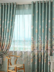 Grommet Top Double Pleat Two Panels Curtain Country Modern Neoclassical , Print Bedroom Polyester Material Curtains Drapes Home Decoration