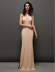 Sheath / Column V-neck Sweep / Brush Train Chiffon Prom Formal Evening Dress with Pleats Split Front by TS Couture®